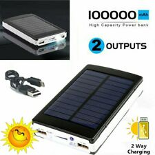 100000mah Power Bank 2 USB Solar Battery Charger for Mobile Phone Waterproof
