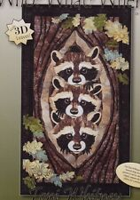 Who? What? Where? - raw edge applique raccoons wall quilt PATTERN - Toni Whitney