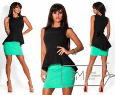 Damen Schösschen Top Peplum Shirt Vintage Bluse Oberteil XS S M L 34 36 38 40