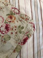 "NAUTICA ONE STANDARD SHAM - ""pemberley"" Tan Roses FLORAL LINEN - Stripes On Back"