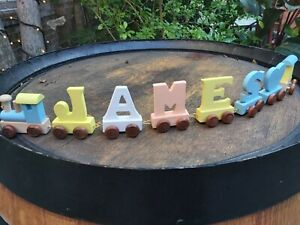 Coloured Wooden Personalised Name Train set