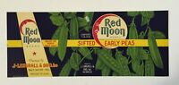 Red Moon Brand Early Peas Original Can Label J. Langrall & Bro. Baltimore MD