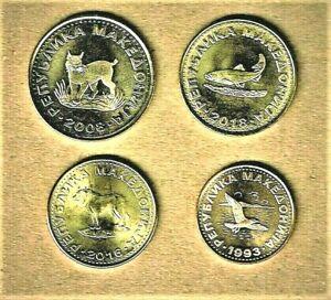Macedonia, 4 coin lot w/ 2 Denarii thru 50 Deni Brass coin w/ animals on Obverse