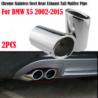 2Pcs For BMW X5 2002-2015 Chrome Stainless Steel Exhaust Tail Muffler Tip Pipe