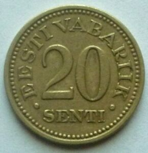 1935 ESTONIA - 20 SENTI - VERY HIGH GRADE - KM# 17 - BEAUTY!