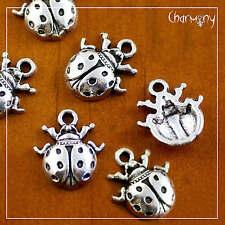 Ladybug charms ~PACK of 6~ Tibetan silver ladybird beetle pendant jewelry bead
