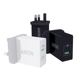 GENUINE ANON MAINS FAST CHARGER PLUG USB UK FOR MOTOROLA MOTO E5 PLUS G6 PLAY