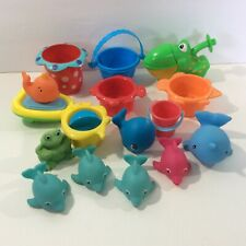 Lot 15 Pieces Toddler Water Toys Bath Pool Squiters Small Buckets Whales
