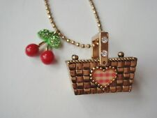 BETSEY JOHNSON Gold Pendant Necklace with Cherries and Picnic Basket 31-34""