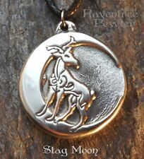 Stag Moon - Pewter Pendant - Celtic, Knotwork, Moon, Deer, Strength Jewelry