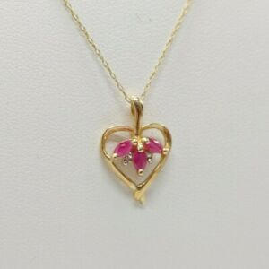 10K Yellow Gold Heart Ruby and Diamond Necklace -  20""