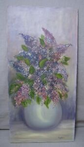 Charming Vintage Folk Art Lilac Flowers Still Life Oil Painting, Signed