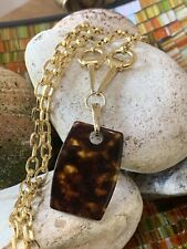 Vintage Napier Gold Tone Long Cable Chain With Brown Pendant