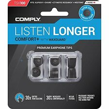 comply tsx-100 comfort plus earphone tips mit wachs guard medium schwarz 3 paar