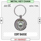CERT Badge Key Chain Round Metal, Decal is Reflective Community Emergency - D 80