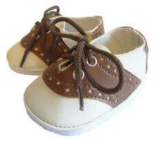 "Ivory/Brown Saddle Shoes made for 18"" American Girl Doll Boy Logan Clothes"