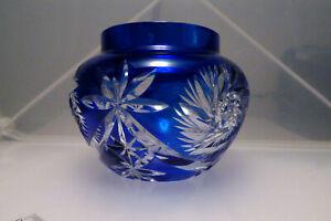 60/70er J. kugelige Vase Kristallglas blau wie Römer Schleuderstern h 8,5 ⌀ 11cm