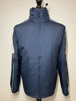 Reebok Vintage Retro Blue Sports Jacket Coat Windbreaker With Hood S VGC