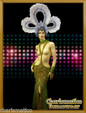 CHARISMATICO GREEN PAGEANT TRANSVESTITE DRAG QUEEN Cleavage BREAST SEQUIN GOWN