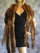 Vtg Russian Sable Stole Wrap Shawl Shrug Cape Scarf Boa Coat Jacket Brown Fur