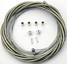 Bicycle 5mm LINED brake cable housing and hardware kit BMX MTB VINTAGE - CLEAR