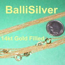 "5 pieces 14kt GOLD FILLED Fine CURB Chain NECKLACES Lot 18"" 45cm"