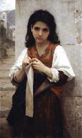 Dream-art Oil painting Bouguereau beautiful young girl portrait The Knitter art