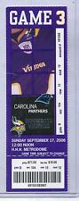 Minnesota Vikings Carolina Panthers 9/17/06 Full Unused Ticket Ryan Longwell