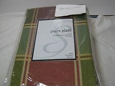 Softline Home  Plaza Plaid Lines Rod Pocket Panel 2(55x84) Green Pale Burgundy