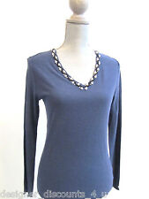 Magaschoni silk V-Neck pearl beaded Sweater top pullover Shirt size sz S