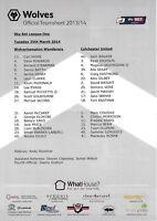 Teamsheet - Wolverhampton Wanderers v Colchester United 2013/14