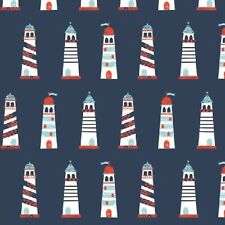 Nautical Lighthouses on Navy 90602-03 Camelot Cotton Fabric Prints  ~ Choose Cut