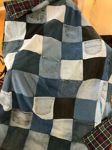 """Handmade Lap, Throw Size Denim Upcycled Jean quilt  56"""" x 72"""""""