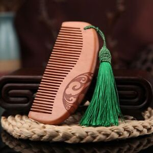 Peach Comb Natural Sandalwood Wooden Detangling No Static Hair Comb Wide Tooth