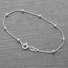 Genuine 925 Sterling Silver 1mm Ball Chain With 2.5mm Beads Bracelet