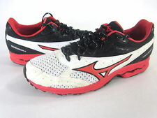 MIZUNO MEN'S WAVE RONIN 4 RUNNING SHOES,WHITE/SPICY-RED/BLACK,US SIZE 8.5,EUR 41