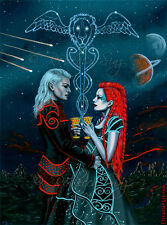 Fantasy Art ORIGINAL PAINTING Tarot 2 of Cups Love Space Science Fiction Romance