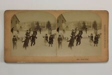 Boule de neige Jeux d'enfants Hiver USA Photo Stereo n VintageAlbumine 1889