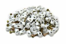200 Pieces White Single Flex Clips for RG6 RG59 Coax Cable Strain Relief Screw