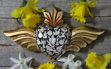 Handmade Wood Heart Milagros & Gold Wings Miracle Mexican Folk Art Michoacán