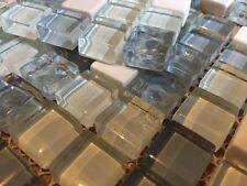 Waxman Accord cubo de hielo Azul Cristal Mosaico De Mármol Frontera Azulejos 150x150mm Hoja