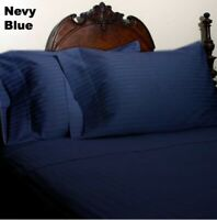 Duvet/Quilt Collection 1000TC Egyptian Cotton Select UK Size Navy Blue Striped