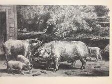 "A Treasury of American Prints, Harry Wickey ""Hogs Near a Corncrib"", 9 1/4"""