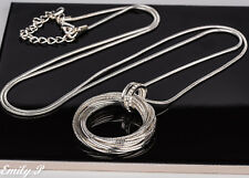 Long Statement Necklace Silver Tone Circle Pendant Necklace Lagenlook