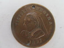 QUEEN VICTORIA DIAMOND JUBILEE BRONZE FOB MEDALLION DATED 1897 (26 mm)