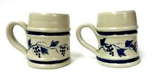 Williamsburg Pottery Mugs Hand Turned 2 Coffee Cups Blue Grape Vine Virginia