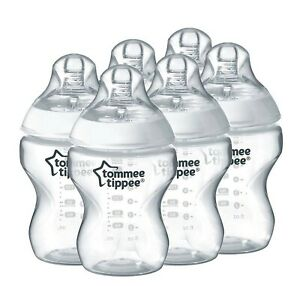 Tommee Tippee Closer to Nature Clear Baby Bottles, 260 ml, Pack of 6 NEW