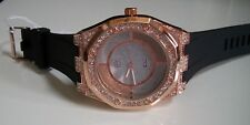 Men's Techno Pave Hip Hop Bling Rose Gold/Black Silicon Band Fashion Wrist Watch
