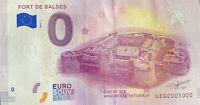 BILLET 0  EURO FORT DE SALSES  FRANCE   2018  NUMERO 5000 DERNIER BILLET