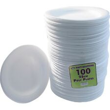 """100 X WHITE FOAM PLATES 25cm 10"""" DISPOSABLE CATERING PARTIES PARTY SUPPLIES FOOD"""